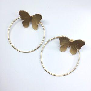 NWOT Anthropologie gold butterfly 🦋 earrings